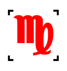Virgo sign red icon inside vector
