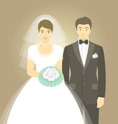 Wedding portrait bride and groom vector
