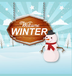 Welcome winter woodsign blue background ima vector