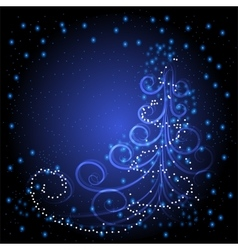 Winter greeting card with Christmas tree vector