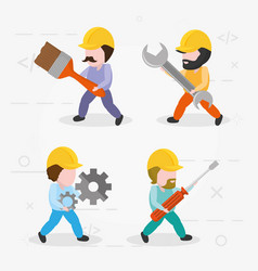 workers with tools vector image