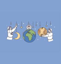 working as astronaut and universe concept vector image