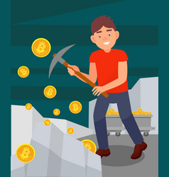 young man digging coins from rock with pickaxe vector image