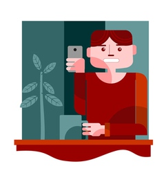 Young man taking selfie vector
