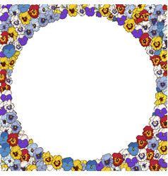 Floral frame of colorfull pansies flowers vector