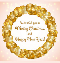 gold christmas wreath vector image vector image
