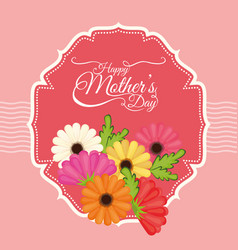 happy mothers day flowers decoration label vector image vector image