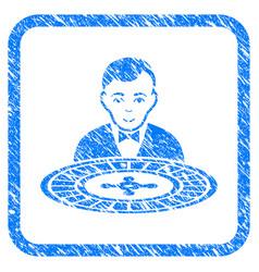 Roulette dealer framed grunge icon vector