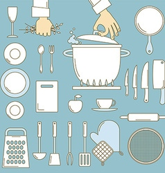 Utensils with cooks hands vector image