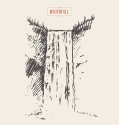 vintage of beautiful waterfall drawn vector image vector image