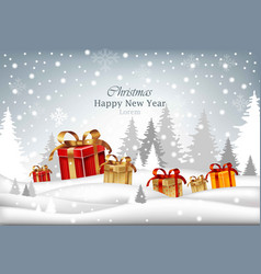 winter holidays card with gifts merry christmas vector image vector image