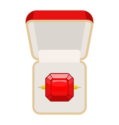 Ring with Ruby Open box for jewelry for betrothal vector image vector image