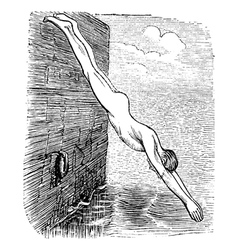 Diving vintage engraved vector image