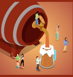 miniature people pouring beer from wooden barrel vector image