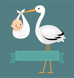 Poster Stork With Baby Boy vector image