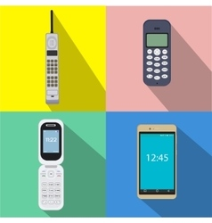 Set of history cell phones of vector image vector image