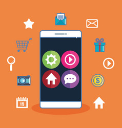 smartphone with app icons on screen orange vector image