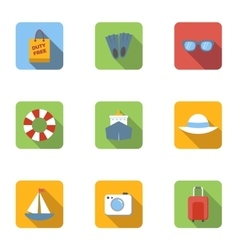 Tourism at sea icons set flat style vector image vector image