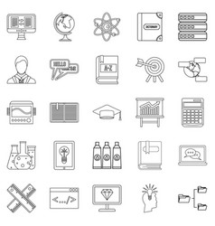college icons set outline style vector image vector image