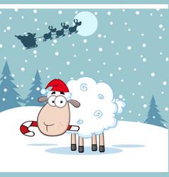 funny christmas sheep cartoon character vector image vector image