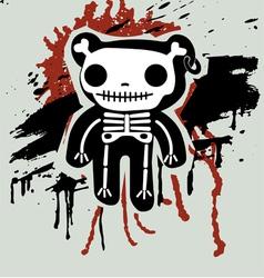 grunge background with teddy in bones vector image vector image
