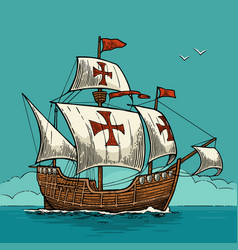 sailing ship floating on the sea waves caravel vector image vector image