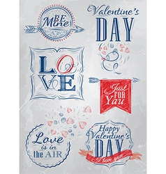 Set Valentines Day red blue vector image vector image