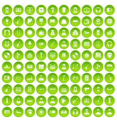 100 music icons set green circle vector