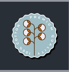 100 percent natural cotton logo natural textile vector