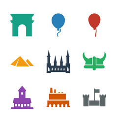 9 history icons vector