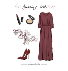 A set of autumn outfit with accessories elegant vector