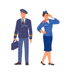 aircraft staff stewardess and airplane pilot crew vector image