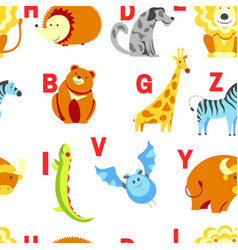 Alphabet animals and letters study material for vector