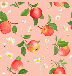 Apple pattern with daisy tropic fruits leaves vector
