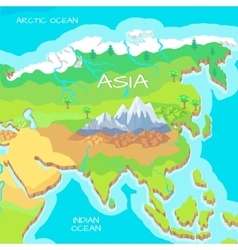 Asia Isometric Map with Natural Attractions vector
