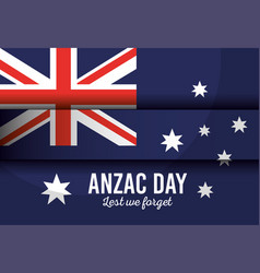 Australian flag with anzac day lest we forget vector