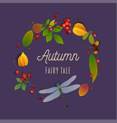 Autumn fairy tale composition with autumn leaves vector