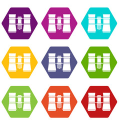 binoculars icon set color hexahedron vector image
