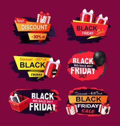 black friday offers and sales banners gifts set vector image