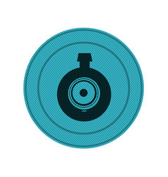 Blue circular frame with video security camera vector
