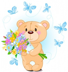 blue teddy bear with flowers vector image