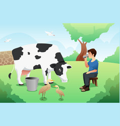 Boy drinking milk after milking a cow vector
