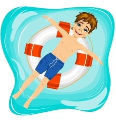 Boy floating on an inflatable circle in the pool vector image vector image