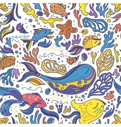 Bright sea doodle pattern vector image
