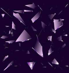 Broken glass on the dark purple background vector