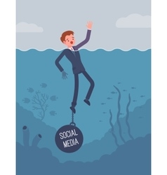 Businessman drowning chained with a weight Social vector image vector image