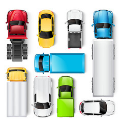 Cars and trucks top view vector