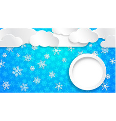 christmas background with white snowflakes and vector image