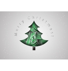 Christmas tree Christmas card in zen tangle style vector