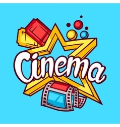 Cinema and movie advertising background in cartoon vector image